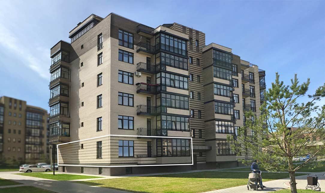Вид квартиры со стороны Троицкого бульвара, 1 этаж, Троицкий бульвар дом 4. Микрорайон ЖК Солнечный