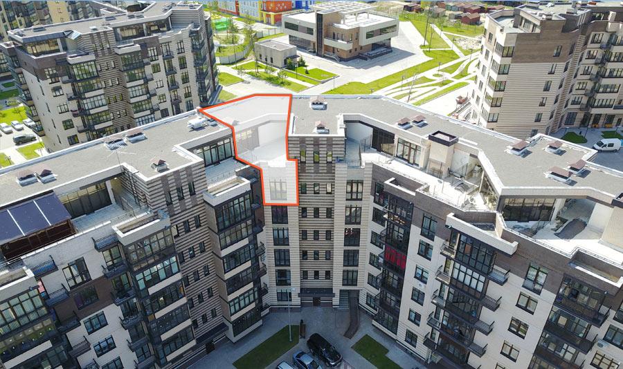 Микрорайон ЖК Солнечный, Троицкий бульвар, дом 5, квартира 55, вид сверху