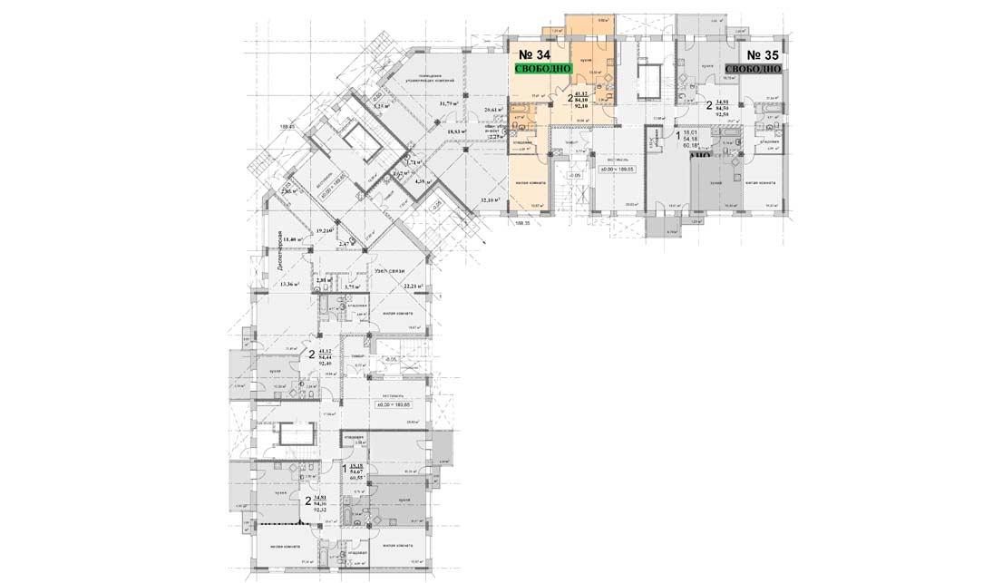 Схема расположения квартиры 34 на 1 этаже дома 4