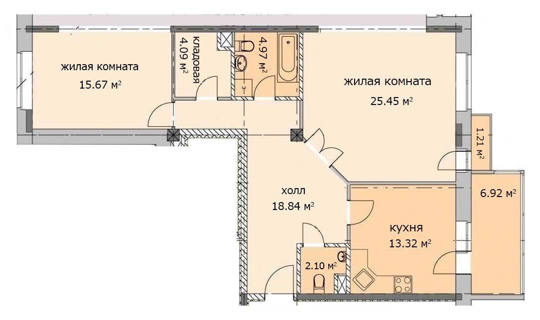План квартиры 34, 1 этаж, Троицкий бульвар дом 4. Микрорайон ЖК Солнечный