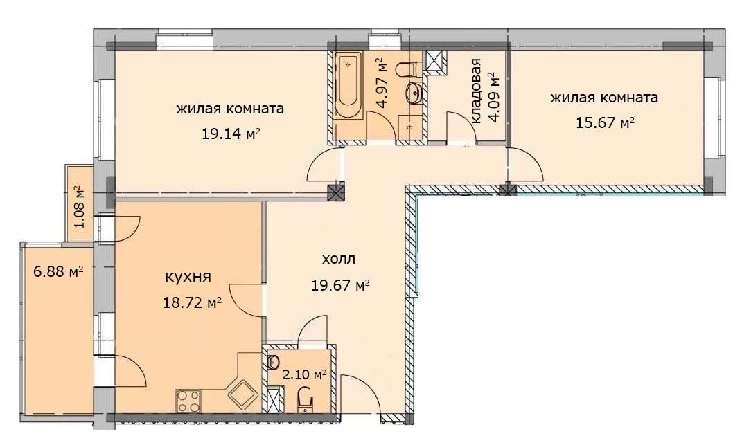 Квартира 35, 1 этаж, Троицкий бульвар дом 4. Микрорайон ЖК Солнечный