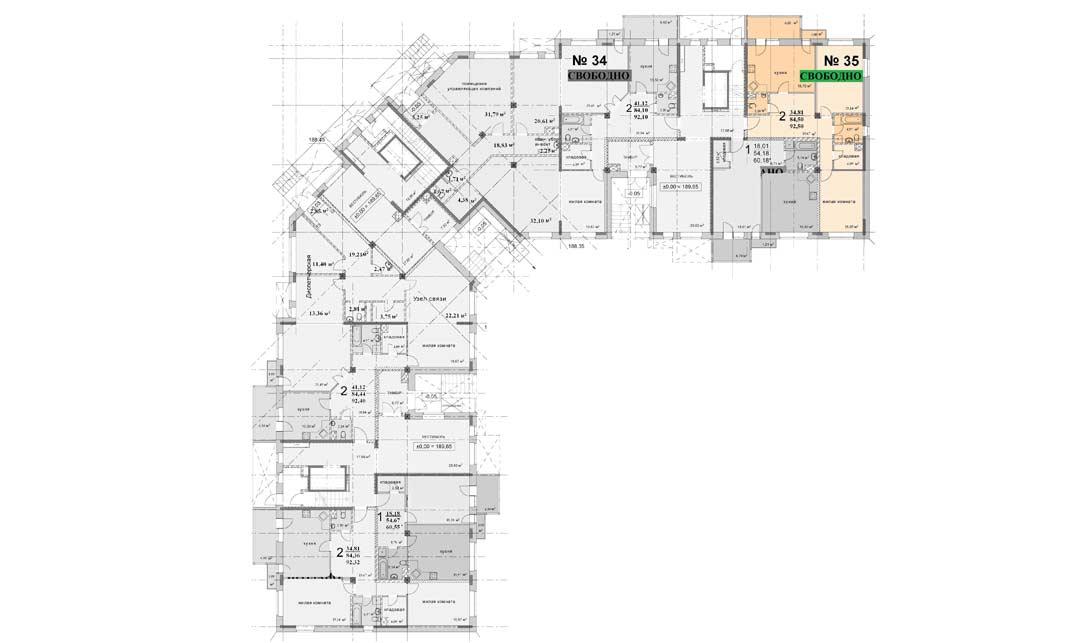 Схема расположения квартиры 35 на 1 этаже дома 4