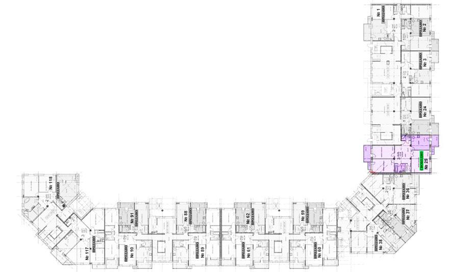 Микрорайон ЖК Солнечный, Троицкий бульвар, дом 5, квартира 25, план 1 этажа