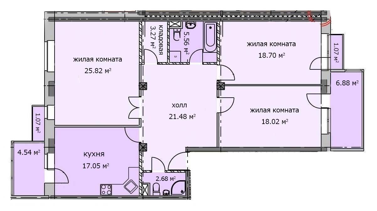 Квартира 25, 1 этаж, Троицкий бульвар дом 5. Микрорайон ЖК Солнечный, Троицк