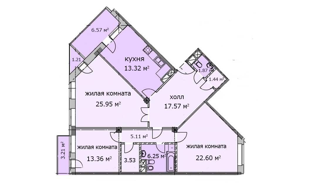 Квартира 124, 3 этаж, Троицкий бульвар дом 5. Микрорайон ЖК Солнечный, Троицк