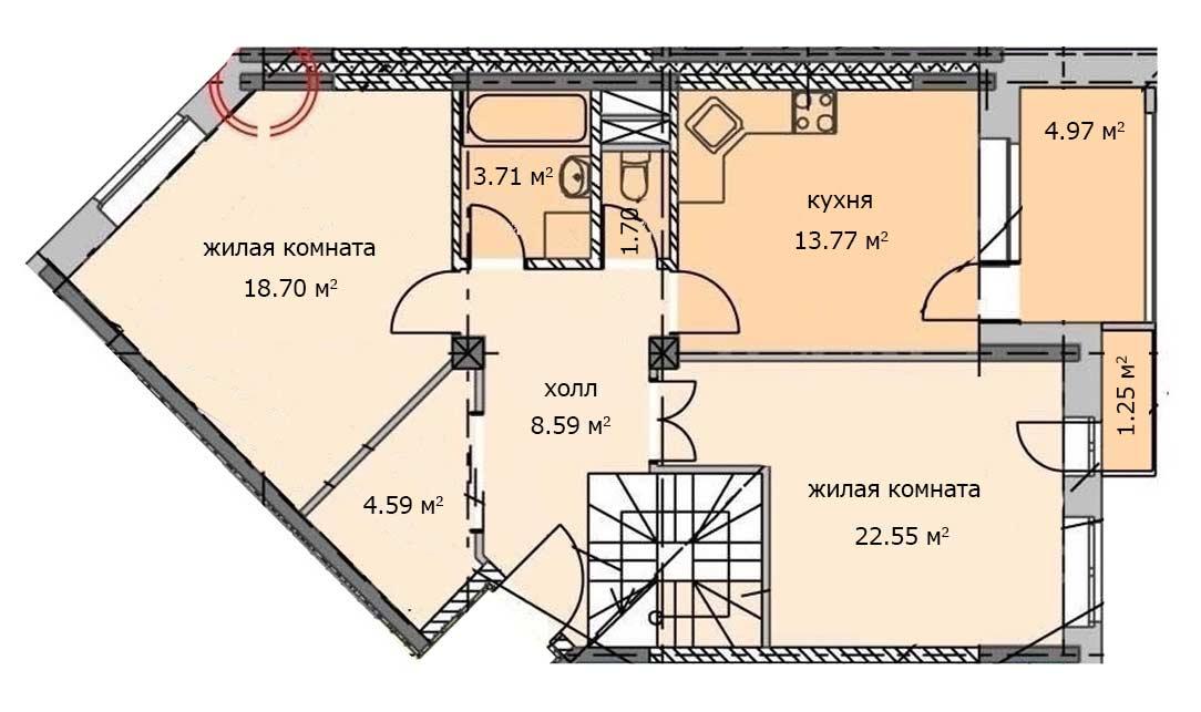 Квартира 55, 6 этаж, Троицкий бульвар дом 5. Микрорайон ЖК Солнечный, Троицк