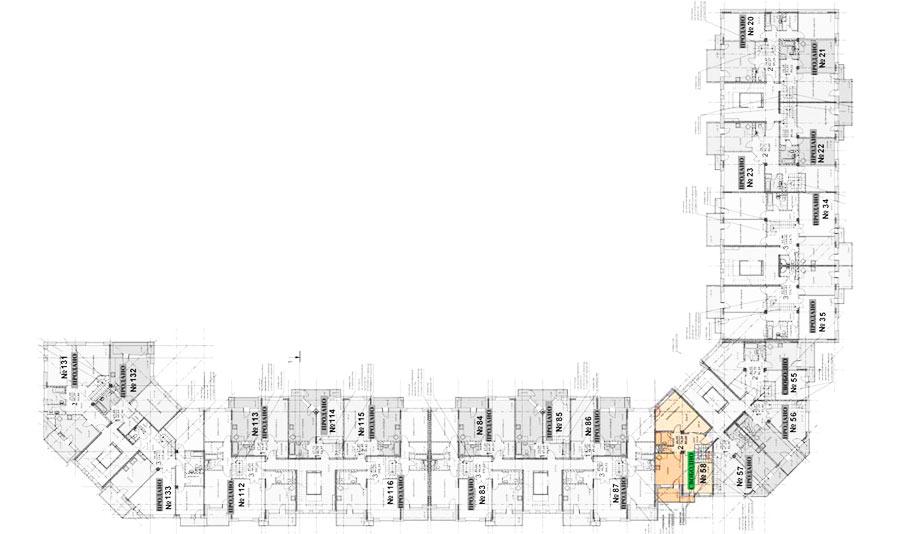 Микрорайон ЖК Солнечный, Троицкий бульвар, дом 5, квартира 58, план 6 этажа