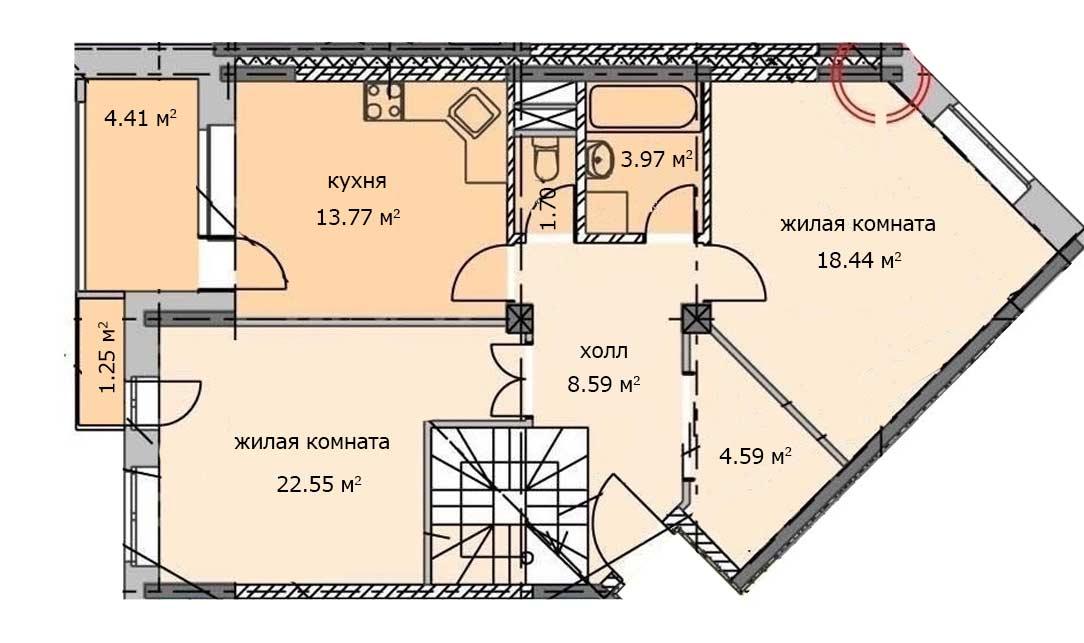 Квартира 58, 6 этаж, Троицкий бульвар дом 5. Микрорайон ЖК Солнечный, Троицк