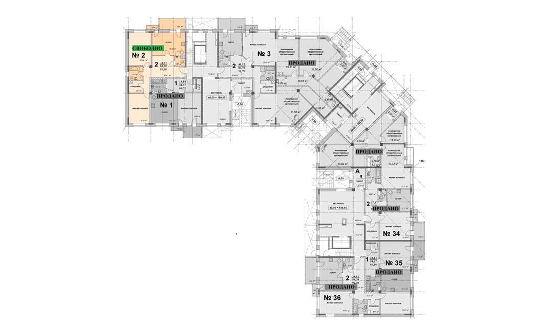 Схема расположения квартиры 2 на 1 этаже дома 6