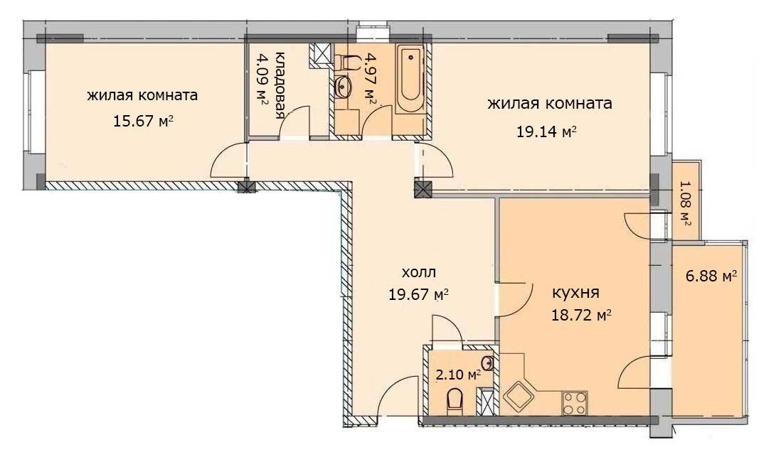 План квартиры 2, 1 этаж, Троицкий бульвар дом 6. Микрорайон ЖК Солнечный