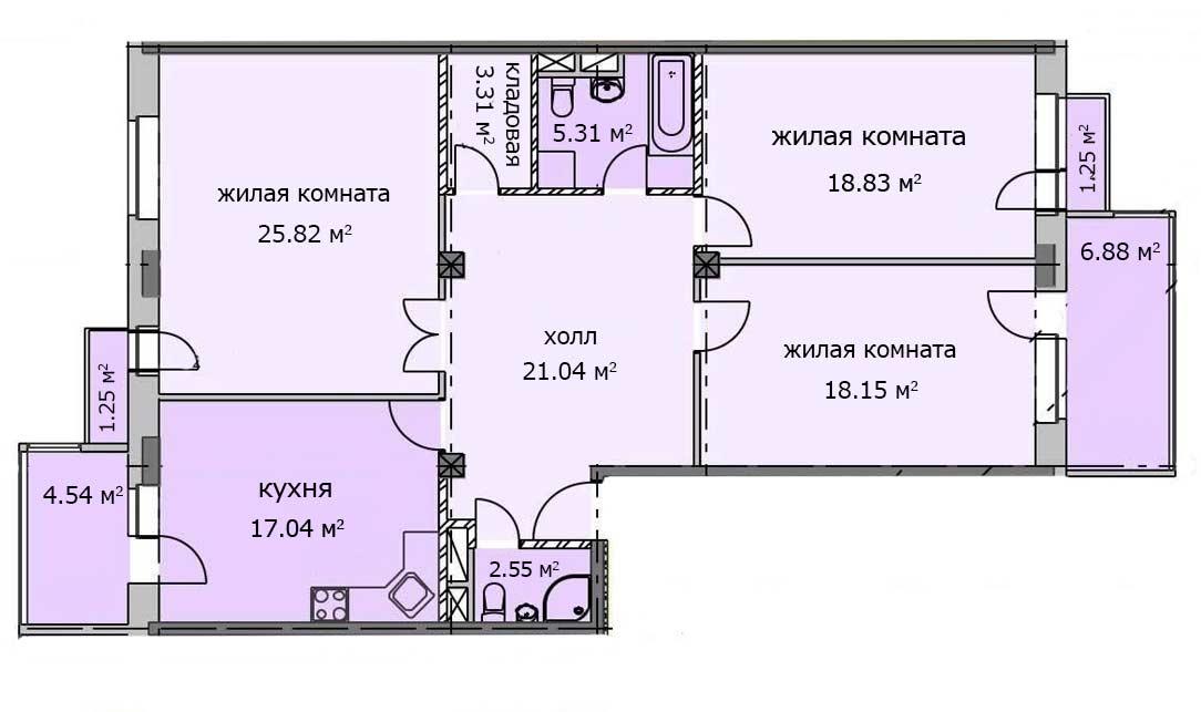 Квартира 28, 3 этаж, Троицкий бульвар дом 7. Микрорайон ЖК Солнечный