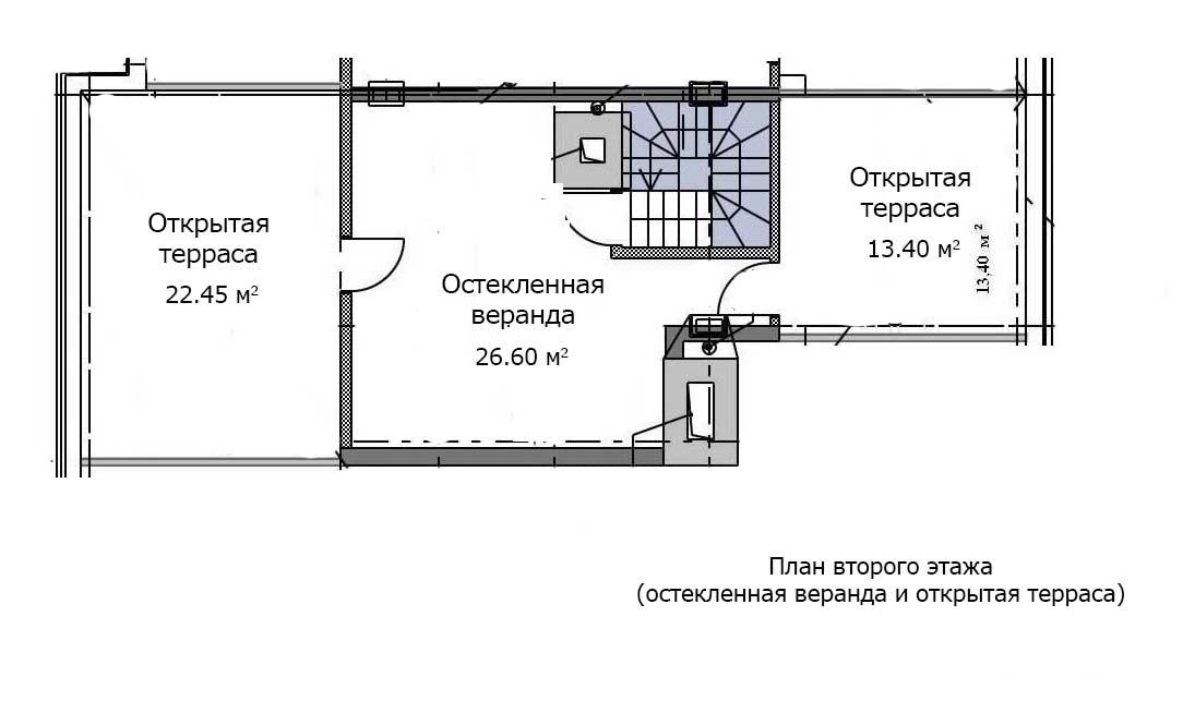 План второго этажа квартиры 20, 6 этаж, Троицкий бульвар дом 6. Микрорайон ЖК Солнечный