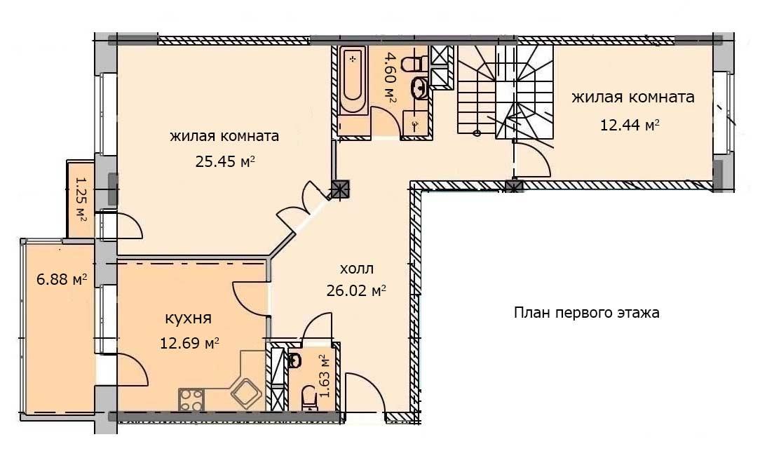 План первого этажа. Квартира 20, 6 этаж, Троицкий бульвар дом 6. Микрорайон ЖК Солнечный