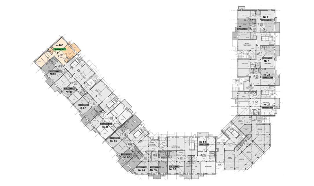 Схема расположения квартиры 100, 1 этаж, Троицкий бульвар дом 7. Микрорайон ЖК Солнечный