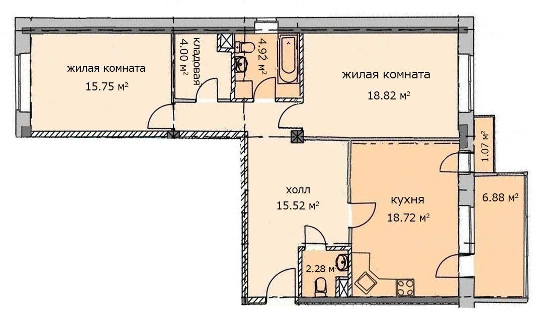 Квартира 100, 1 этаж, Троицкий бульвар дом 7. Микрорайон ЖК Солнечный