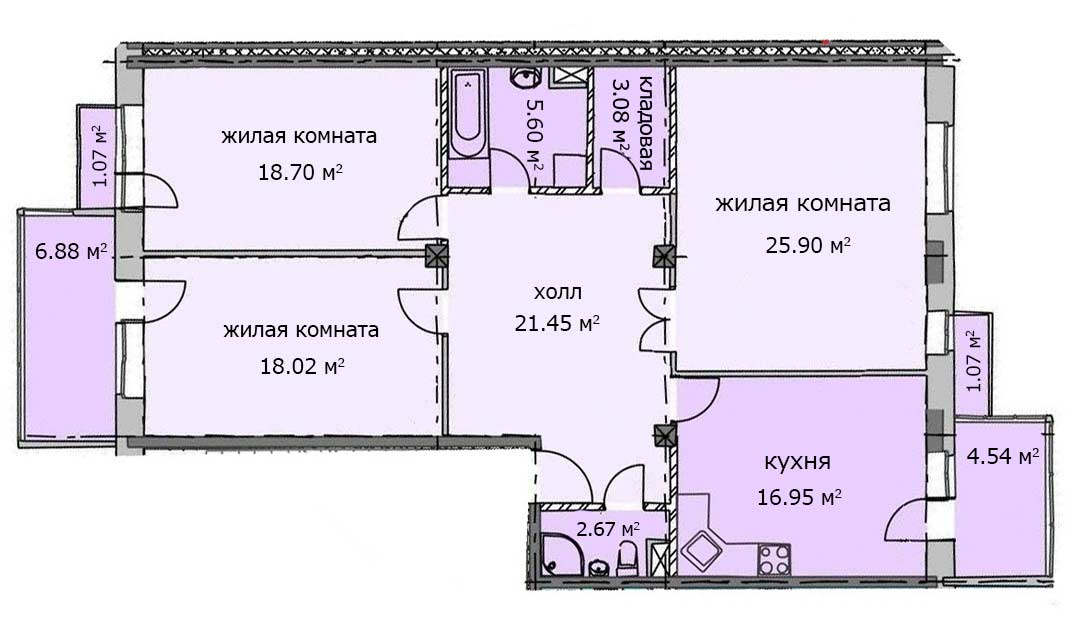 Квартира 86, 1 этаж, Троицкий бульвар дом 7. Микрорайон ЖК Солнечный
