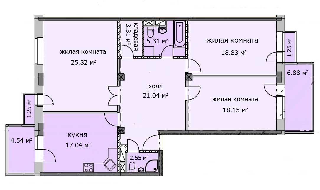 Квартира 26, 2 этаж, Троицкий бульвар дом 7. Микрорайон ЖК Солнечный