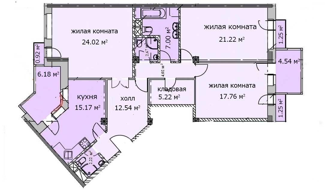 Квартира 67, 2 этаж, Троицкий бульвар дом 7. Микрорайон ЖК Солнечный
