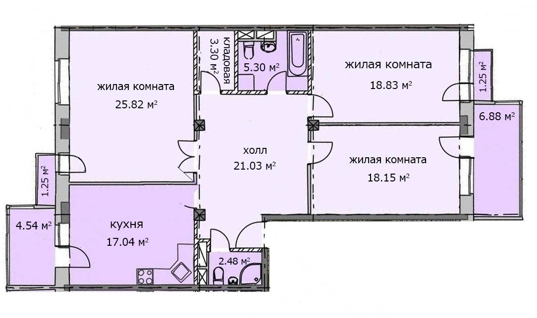 Квартира 89, 2 этаж, Троицкий бульвар дом 7. Микрорайон ЖК Солнечный