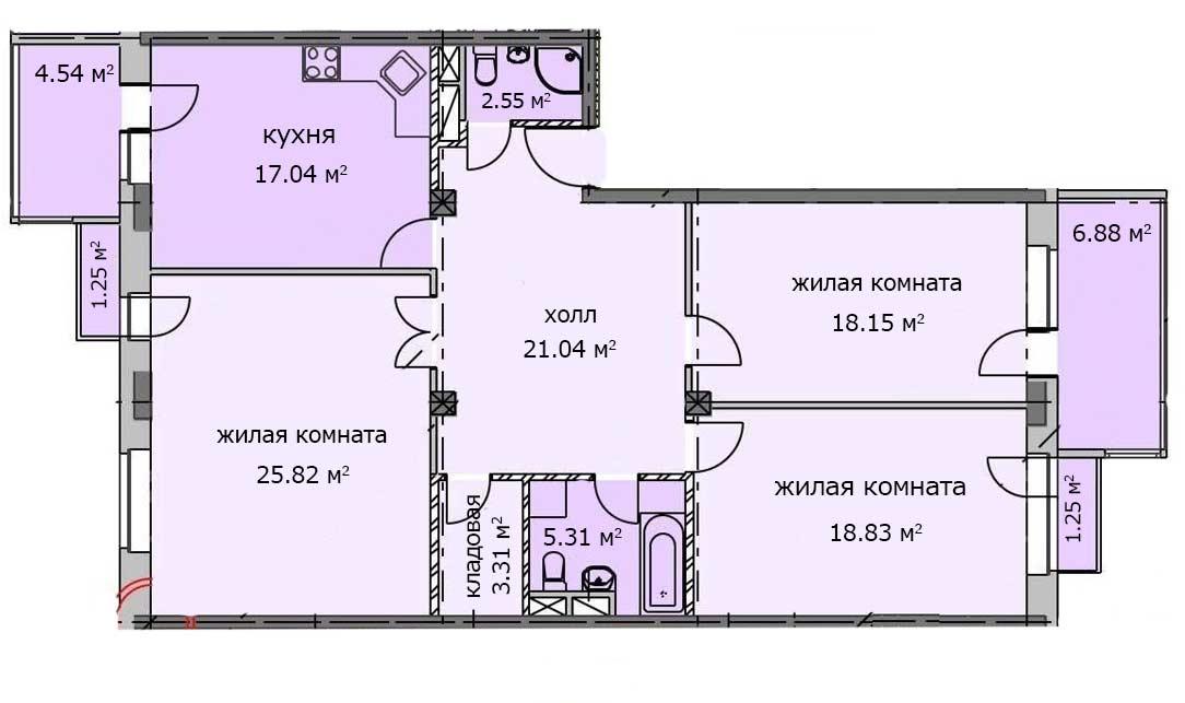 Квартира 29, 3 этаж, Троицкий бульвар дом 7. Микрорайон ЖК Солнечный