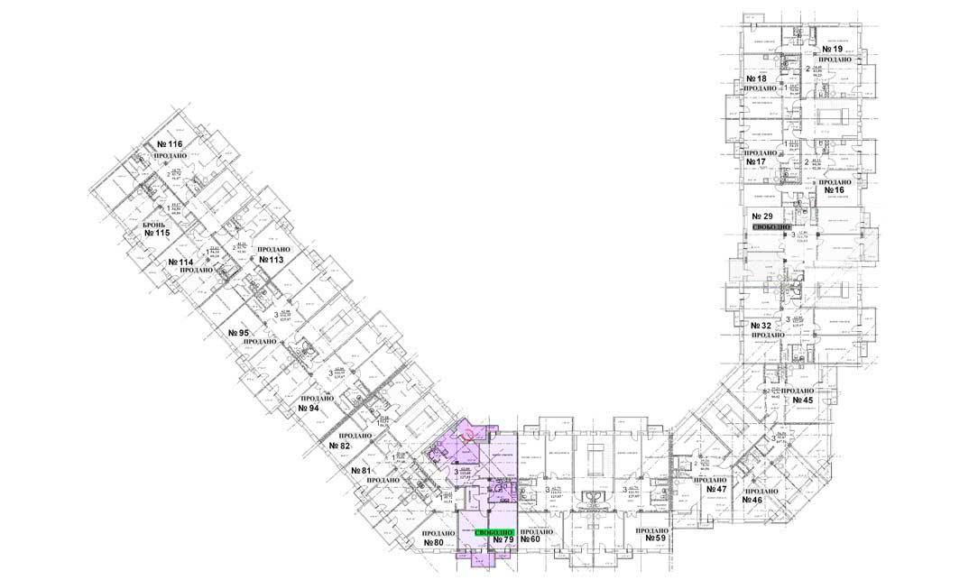 План этажа. Квартира 79, 5 этаж, Троицкий бульвар дом 7. Микрорайон ЖК Солнечный
