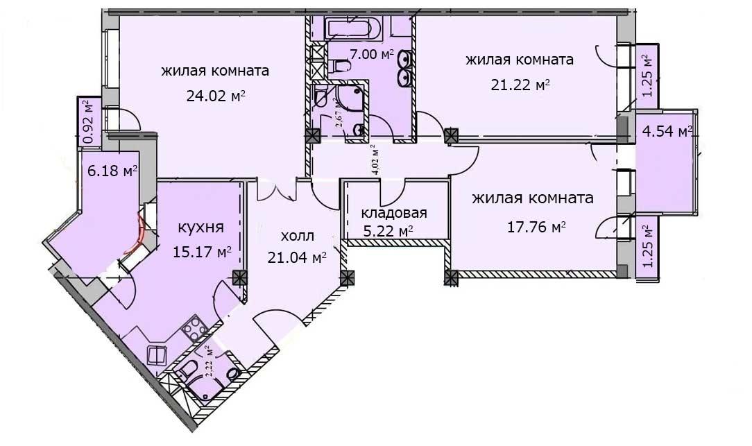 Квартира 79, 5 этаж, Троицкий бульвар дом 7. Микрорайон ЖК Солнечный