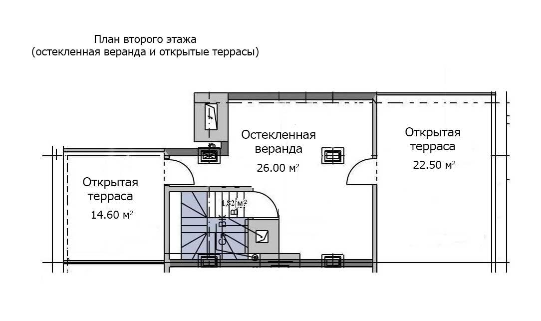 План второго этажа квартиры 117, 6 этаж, Троицкий бульвар дом 7. Микрорайон ЖК Солнечный