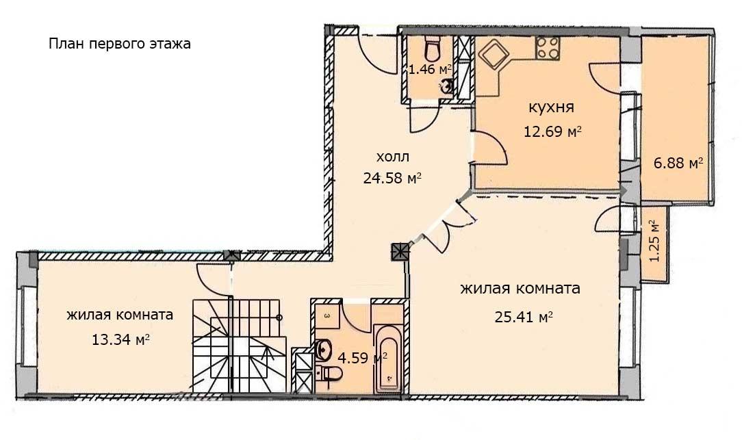 План первого уровня квартиры 117, 6 этаж, Троицкий бульвар дом 7. Микрорайон ЖК Солнечный