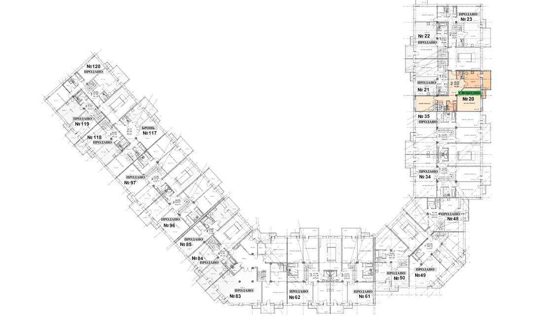 Квартира 20, 6 этаж, Троицкий бульвар дом 7. Микрорайон ЖК Солнечный