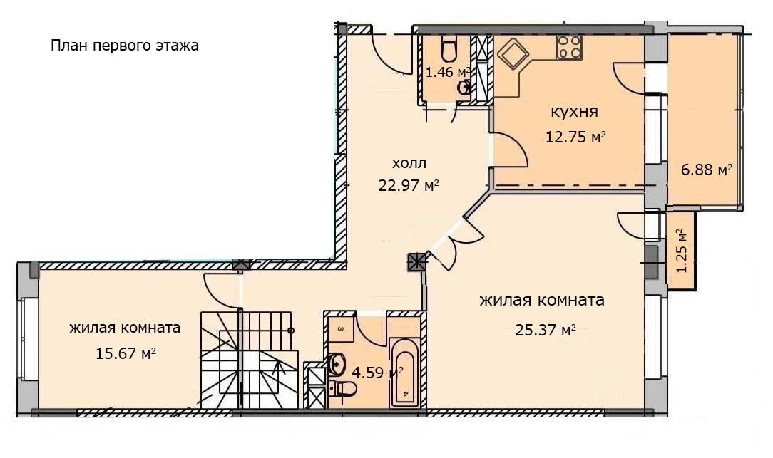 2х комнатная двухуровневая квартира. План первого этажа. Квартира 20, 6 этаж, Троицкий бульвар дом 7. Микрорайон ЖК Солнечный