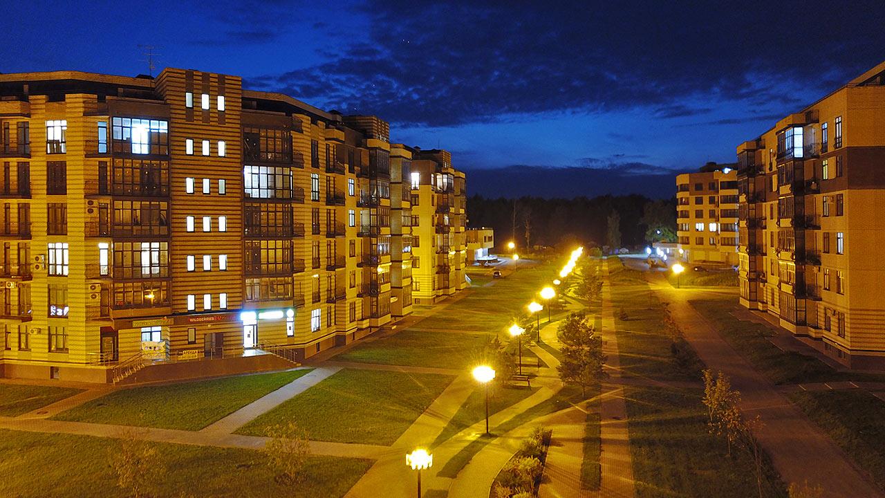 Ночной вид ЖК Солнечный в Троицке Москва