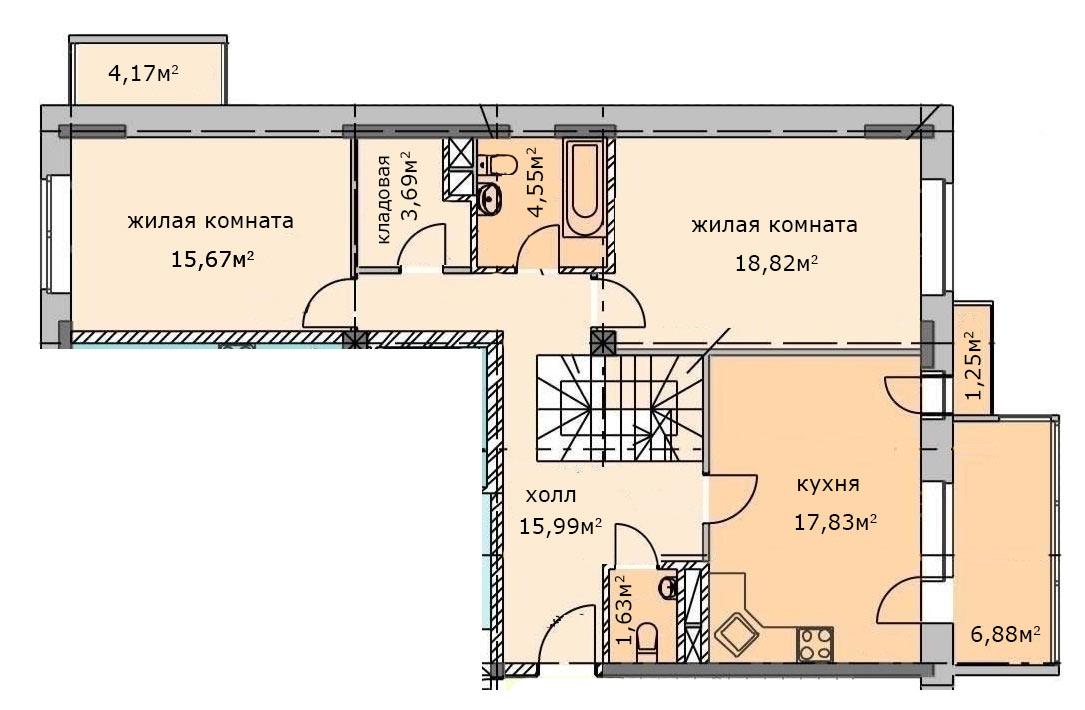 2х комнатная двухуровневая квартира. План первого этажа. Квартира 23, 6 этаж, Троицкий бульвар дом 7. Микрорайон ЖК Солнечный